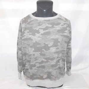 Womens L Grey Camo Pullover Sweatshirt